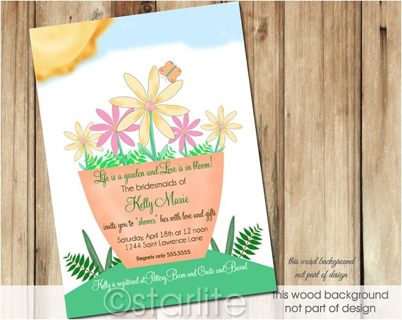 bridal shower invitation garden blooms