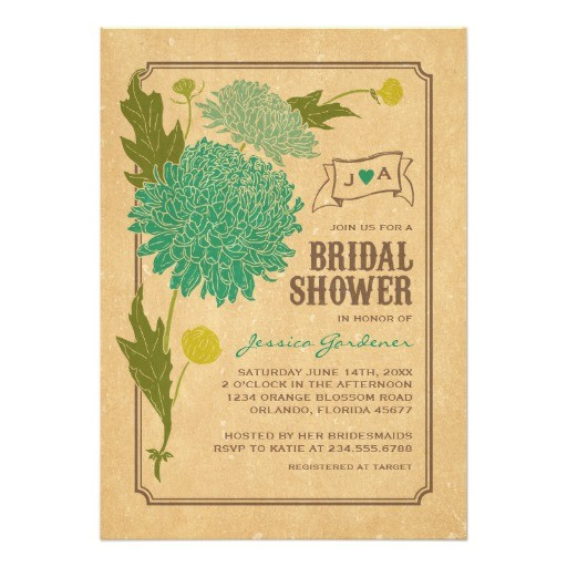 vintage floral garden party bridal shower invite