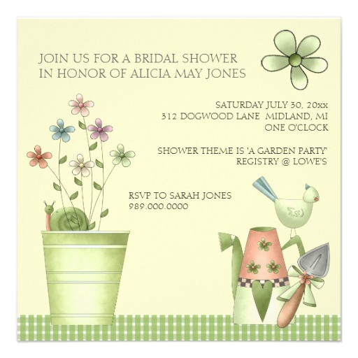 garden themed bridal shower invitations