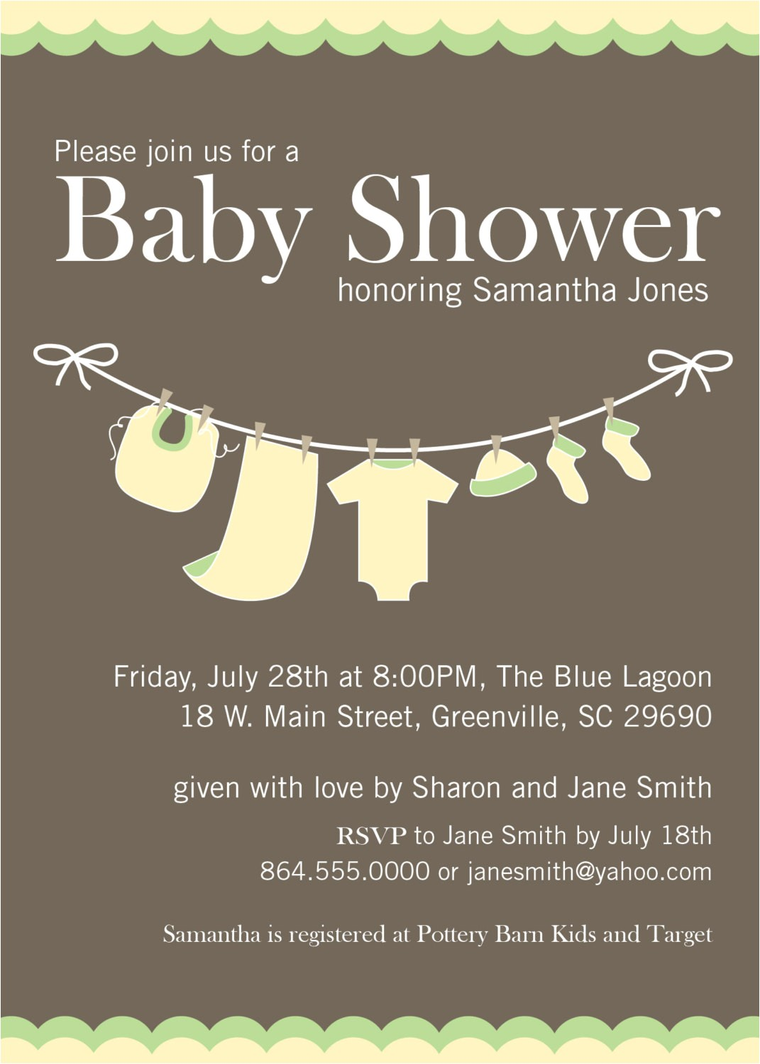 baby shower invitations yellow green gender neutral clothesline set of 10