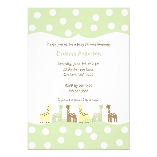 giraffe friends baby shower invite gender neutral