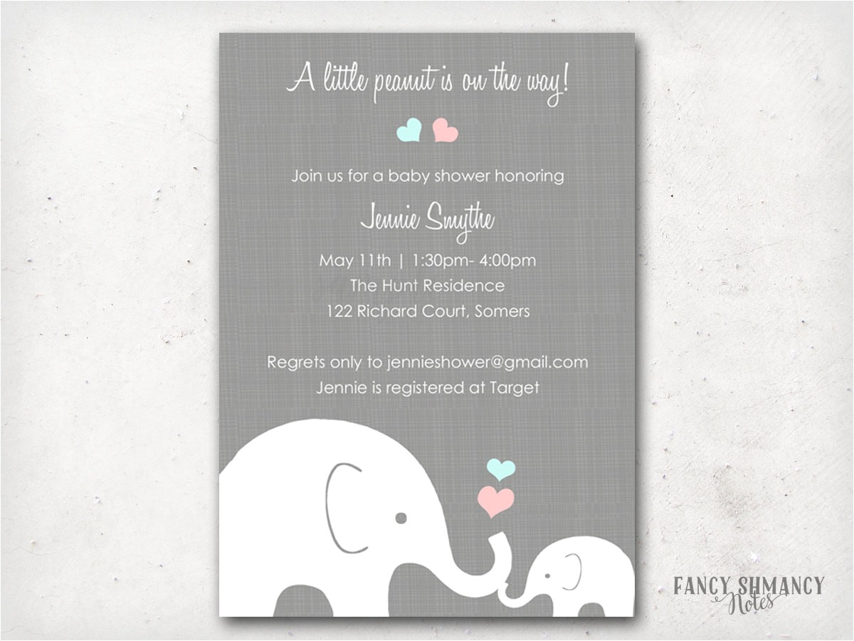 elephant baby shower invitation little