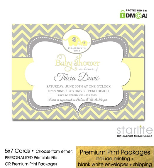 elephant baby shower invitation yellow