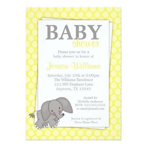 Gender Neutral Elephant Baby Shower Invitations Elephant Yellow Dots Gender Neutral Baby Shower 5×7 Paper