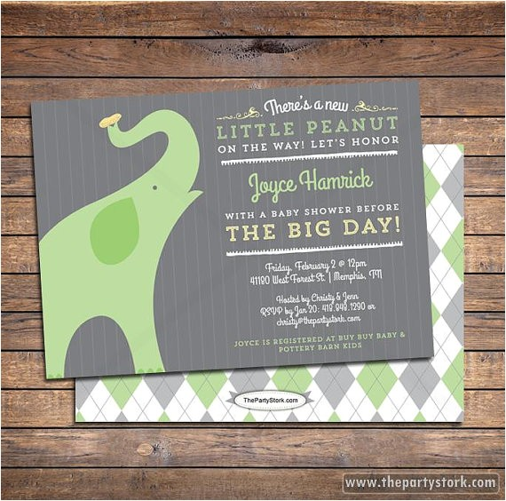 gender neutral baby shower invitation elephant 3