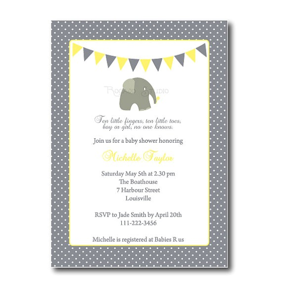 elephant baby shower invitation gender