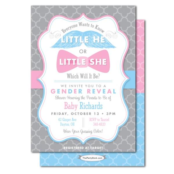 Gender Reveal Baby Shower Invitation Wording Gender Reveal Baby Shower Invitations