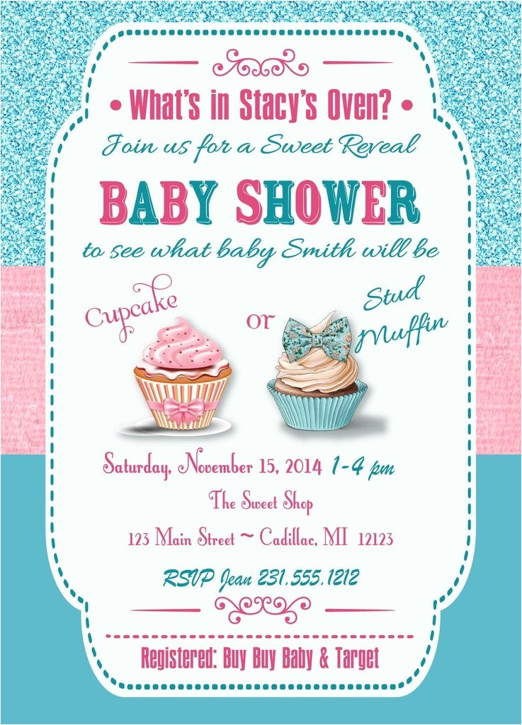 exciting gender reveal baby shower invitations