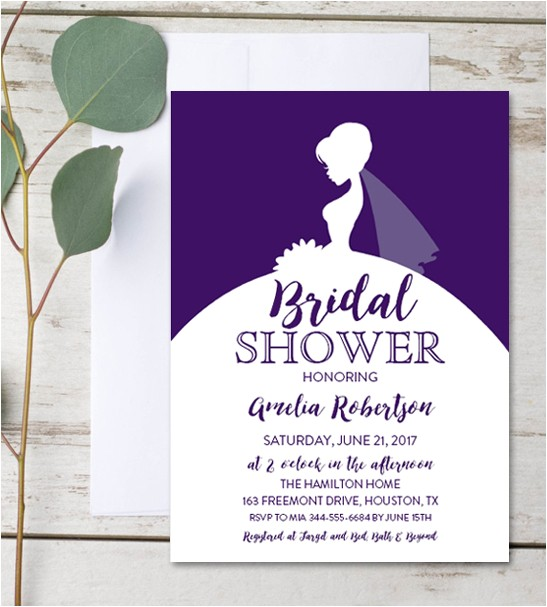 editable bridal shower invitation purple dress instant pdf template