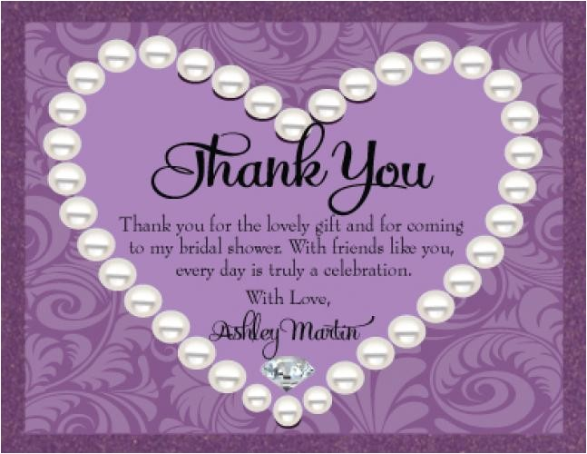 generic bridal shower thank you card wording