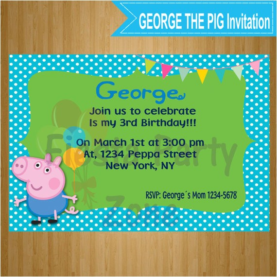 george the pig george the pig invitation