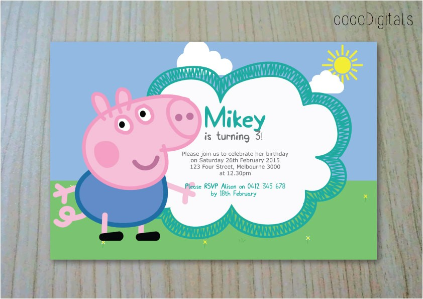 peppa pig george pig birthday invitation