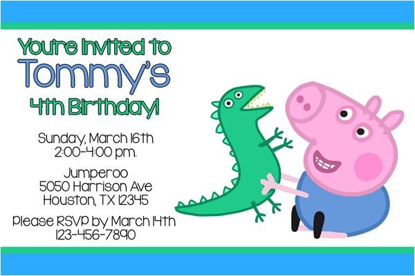 George Pig Birthday Party Invitations Peppa Pig Invitations