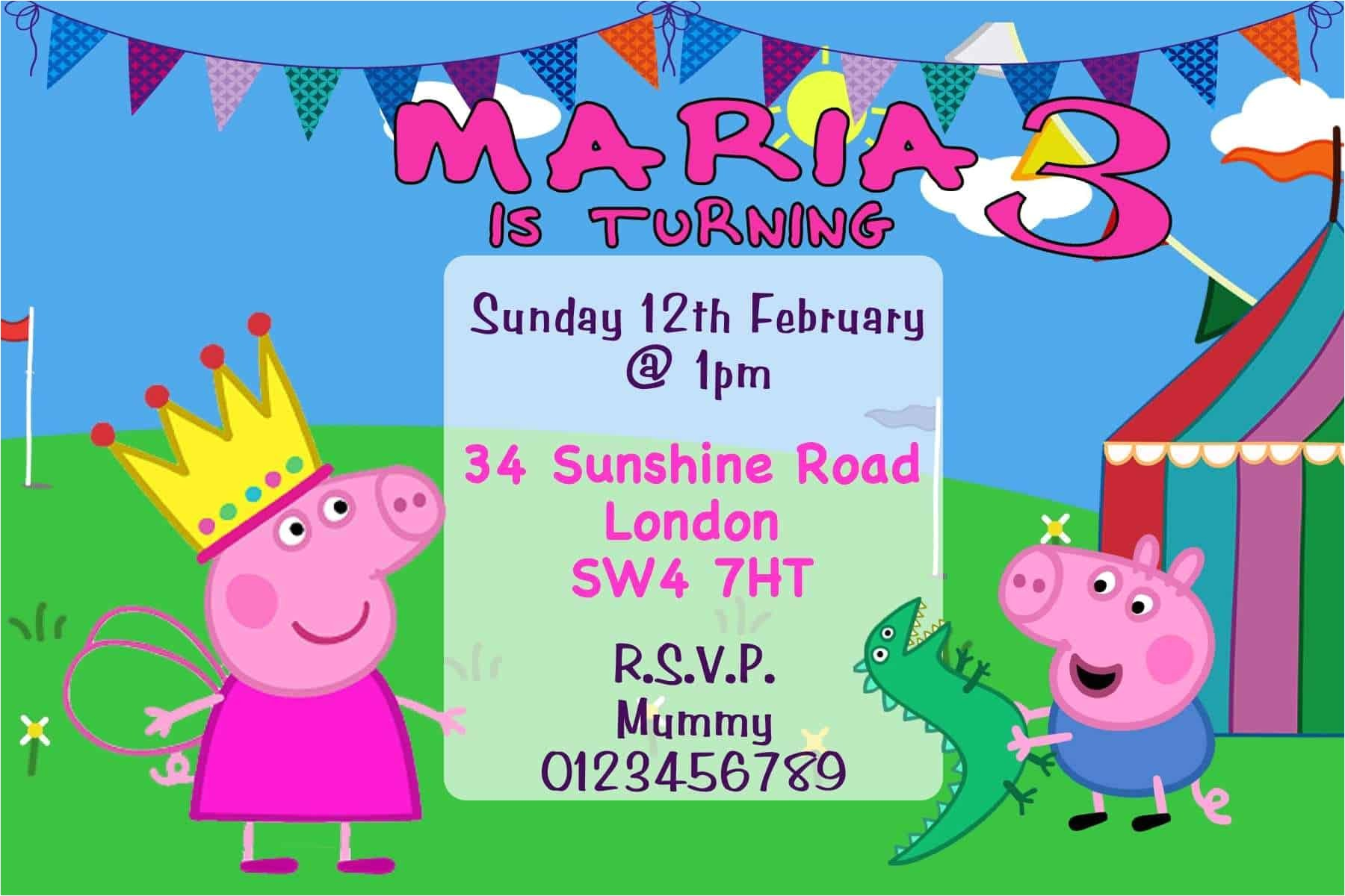 10 personalised peppa pig george birthday party invitations 3