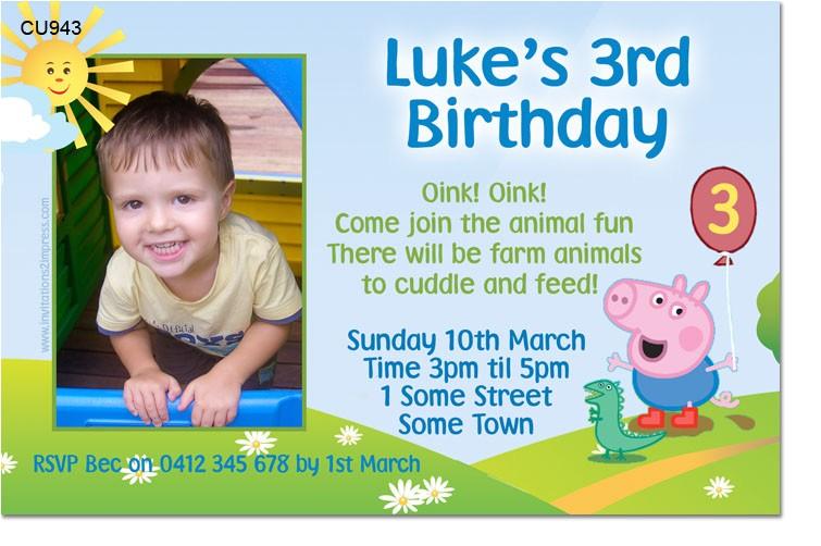 cu943 george the pig birthday invitation