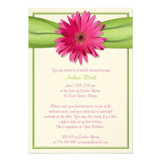 green pink gerbera daisy bridal shower invitation