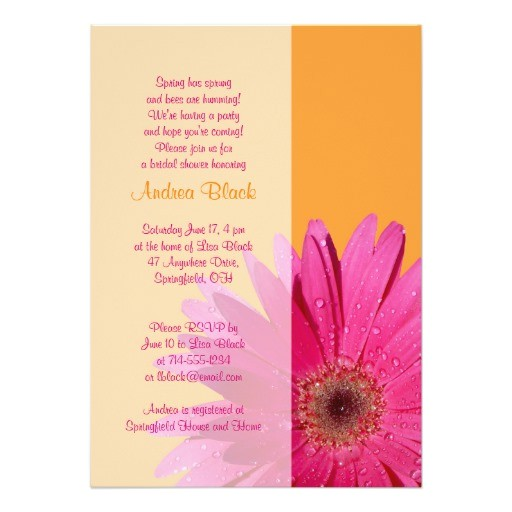orange pink gerbera daisy bridal shower invitation