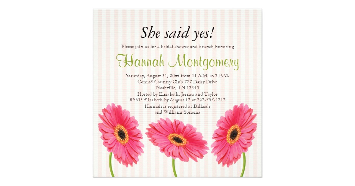 pink gerbera daisy bridal shower invitations