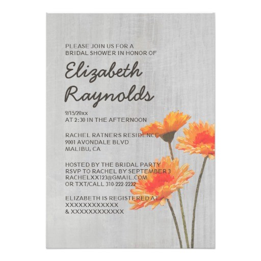 vintage gerbera daisy bridal shower invitations