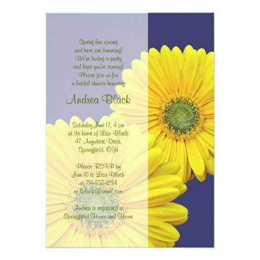 yellow gerbera daisy navy bridal shower invitation