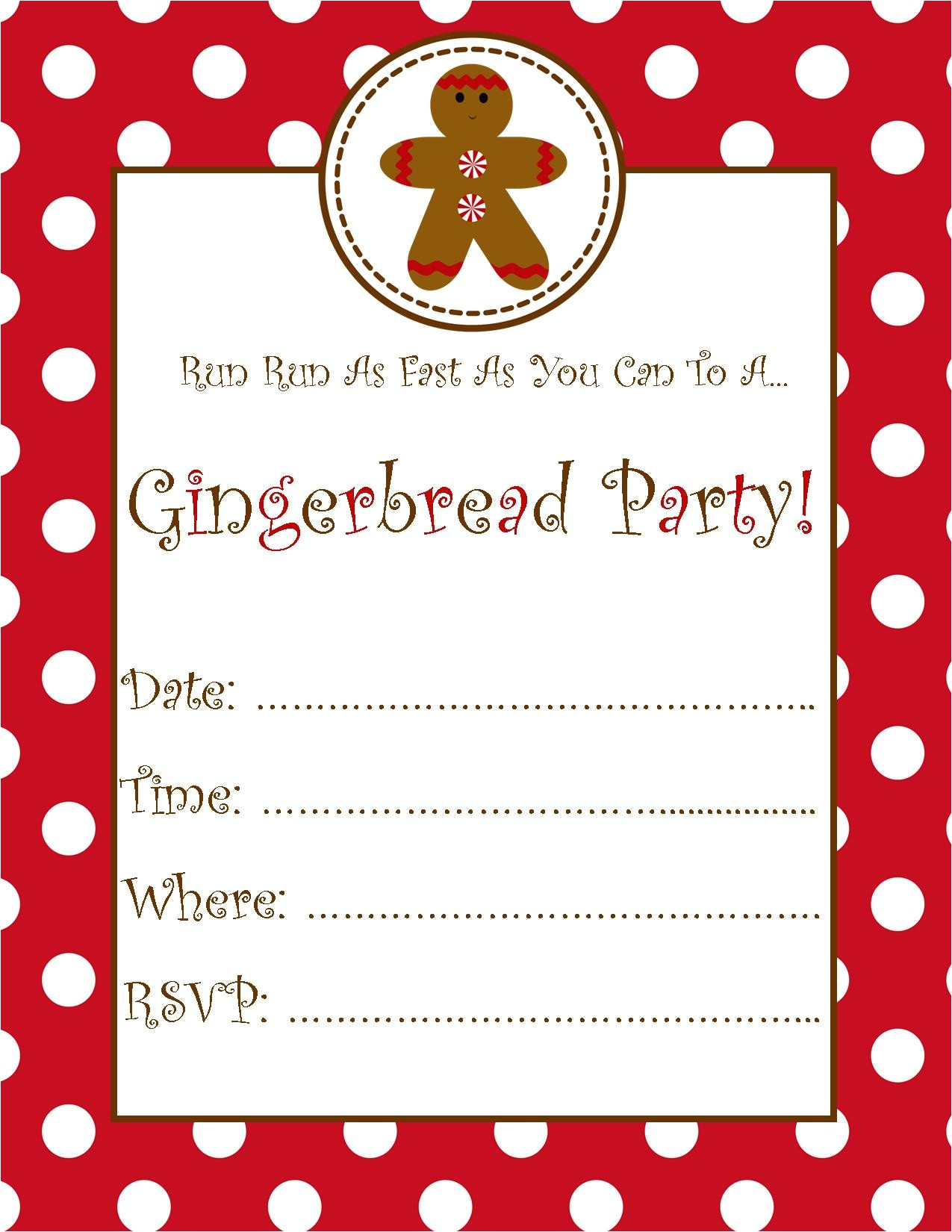 free gingerbread party invitation