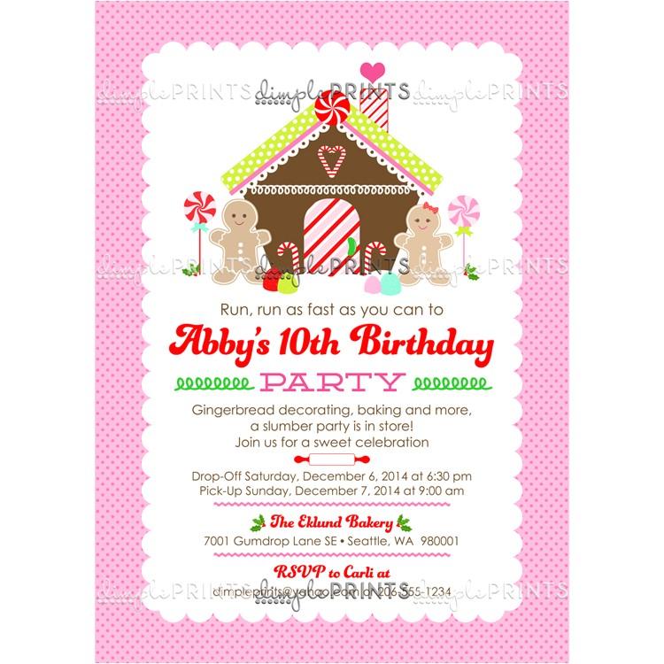 gingerbread birthday printable invitation