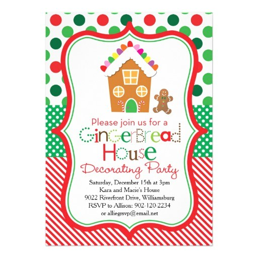 gingerbread house decorating party invitation 256111713399227252