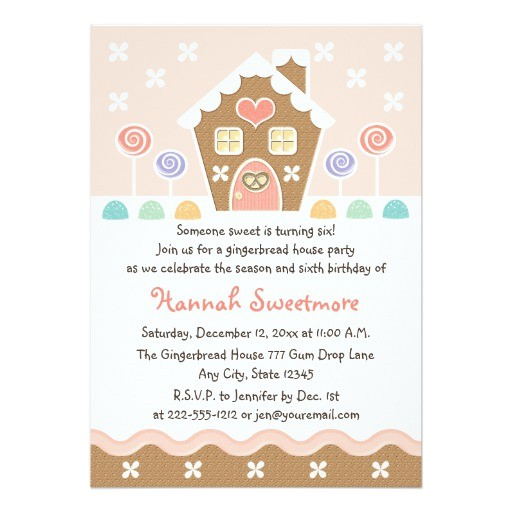 pink gingerbread house birthday party invitations 161054721814409992