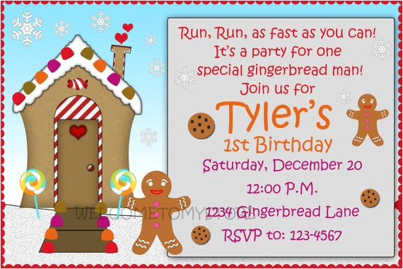 gingerbread man birthday invitation kids