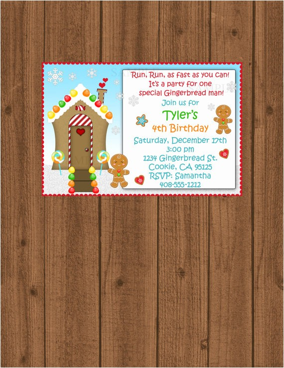 gingerbread man birthday invitation kids christmas