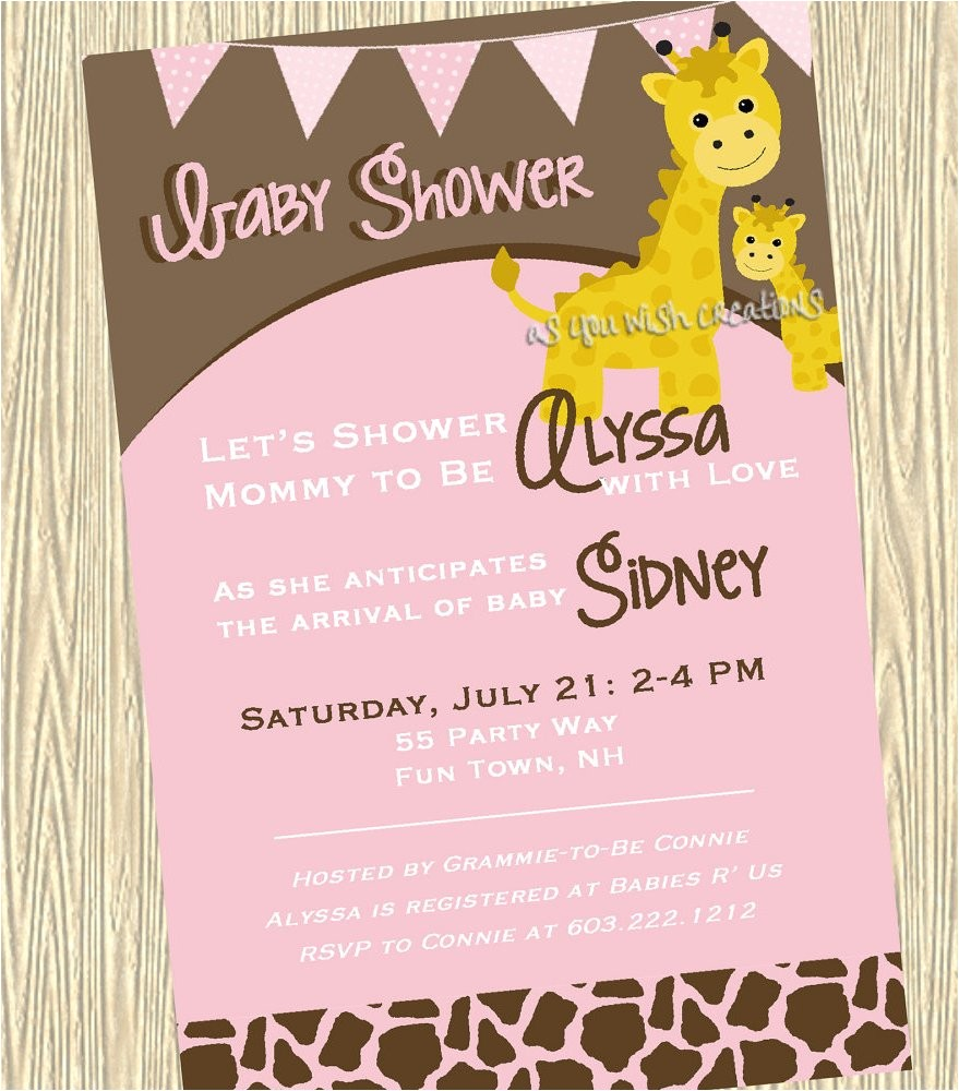 cute giraffe baby shower invitations