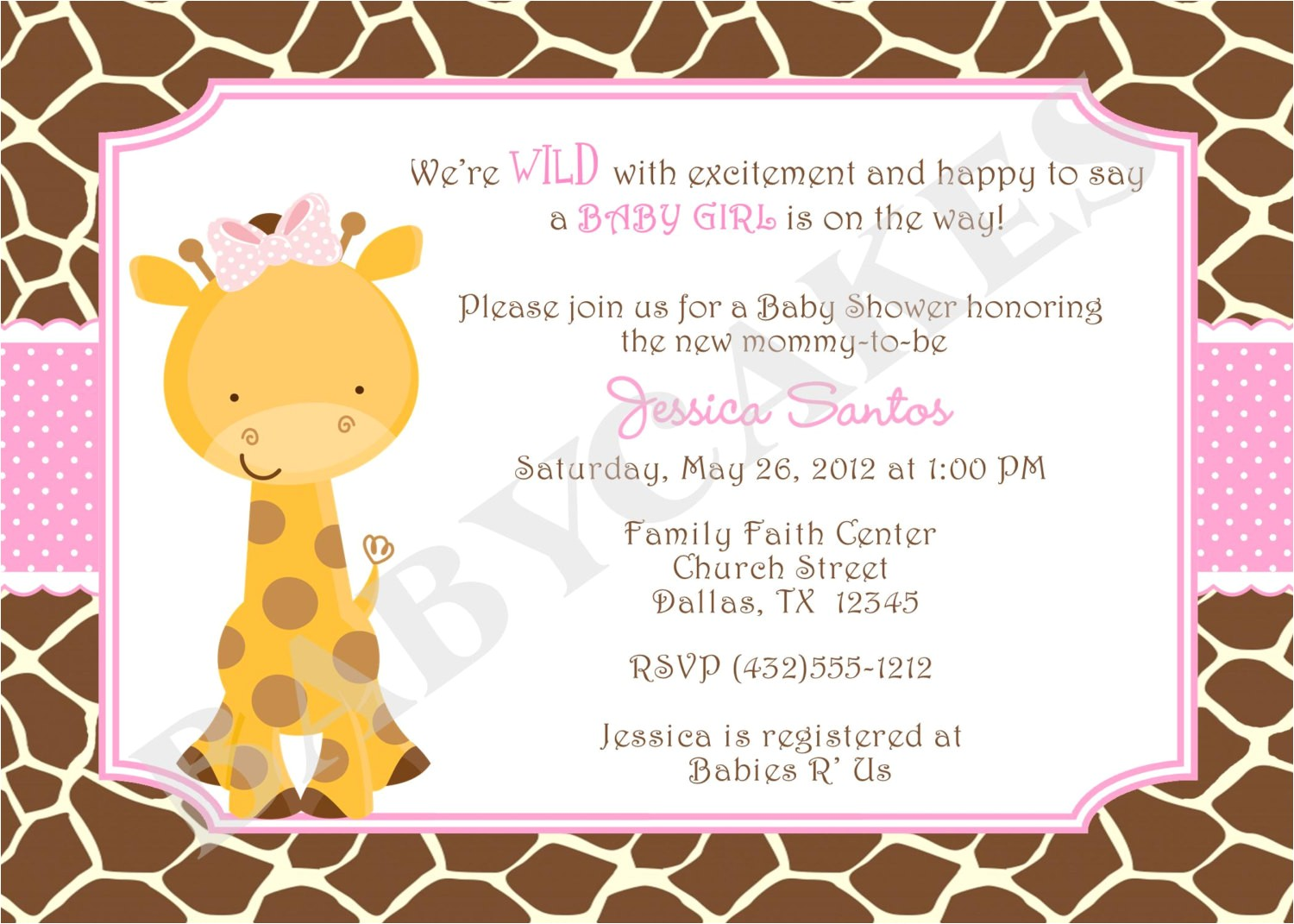 Giraffe Baby Shower Invitations Template Baby Shower Invitations Giraffe theme