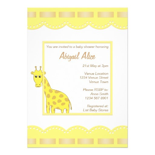 baby shower template with cartoon giraffe invitation