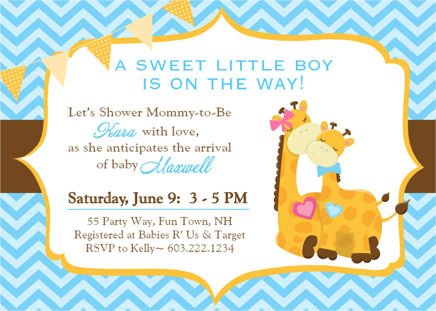 giraffe baby shower invitations