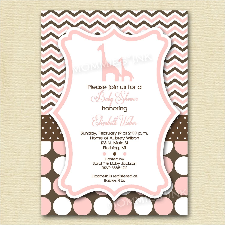 baby shower invitation giraffe baby