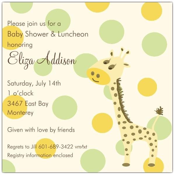 Giraffe Square Boy Baby Shower Invitations p 603 7821
