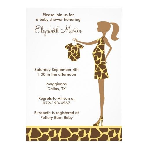chic giraffe print baby shower invitation