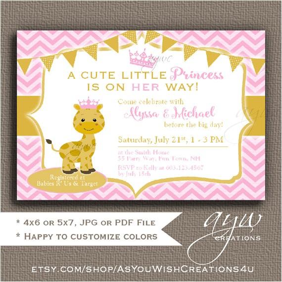 giraffe baby shower invitations girl giraffe