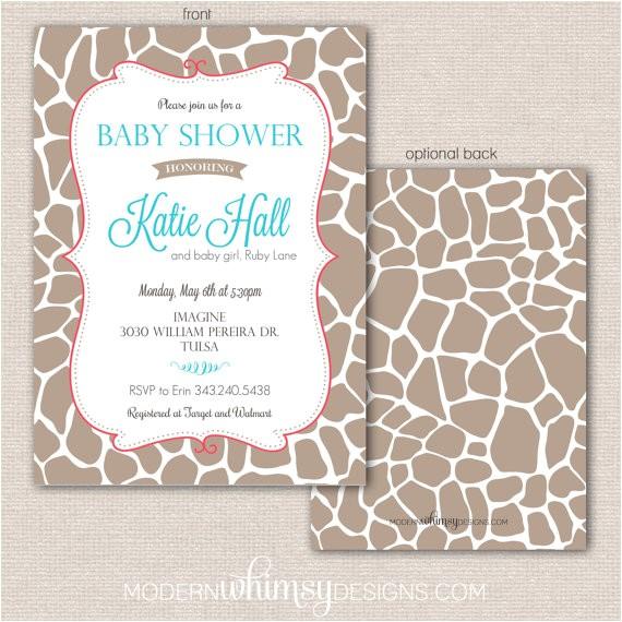 giraffe print baby shower invitation