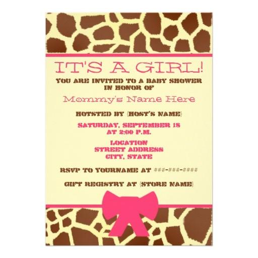 girl baby shower invitation giraffe print pink