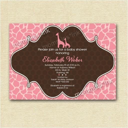 Giraffe Print Baby Shower Invitations Mod Giraffe Print Baby Shower Invitation Pink or Blue