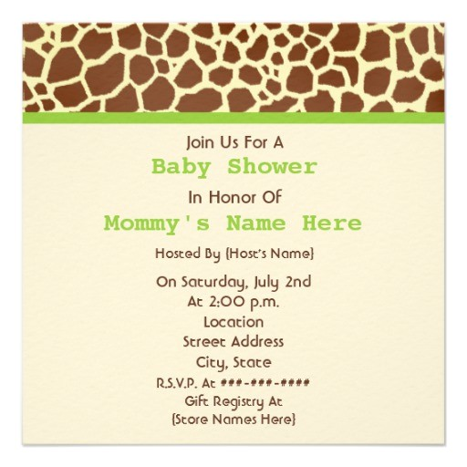 neutral baby shower giraffe print stuffed bear invitation