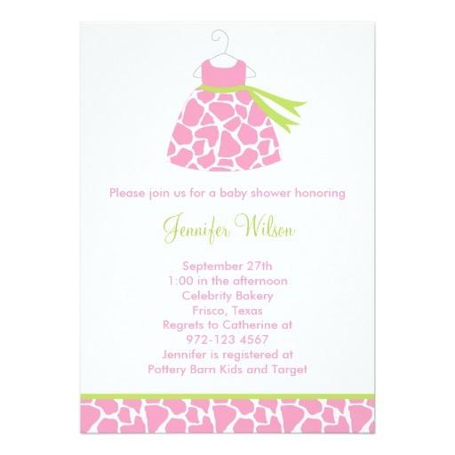 pink giraffe print baby shower invitation