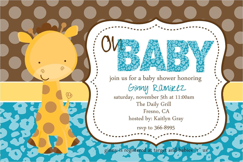 baby shower invitations giraffe theme