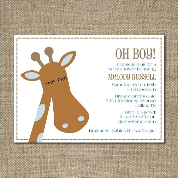 printable modern giraffe themed baby boy