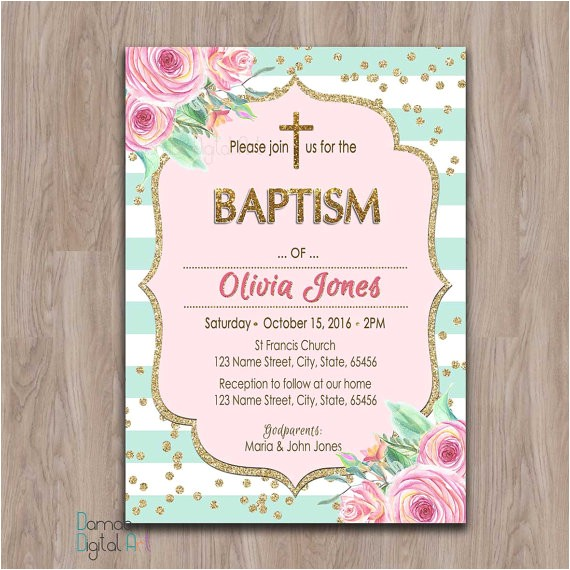 baptism invitation girl printable girl