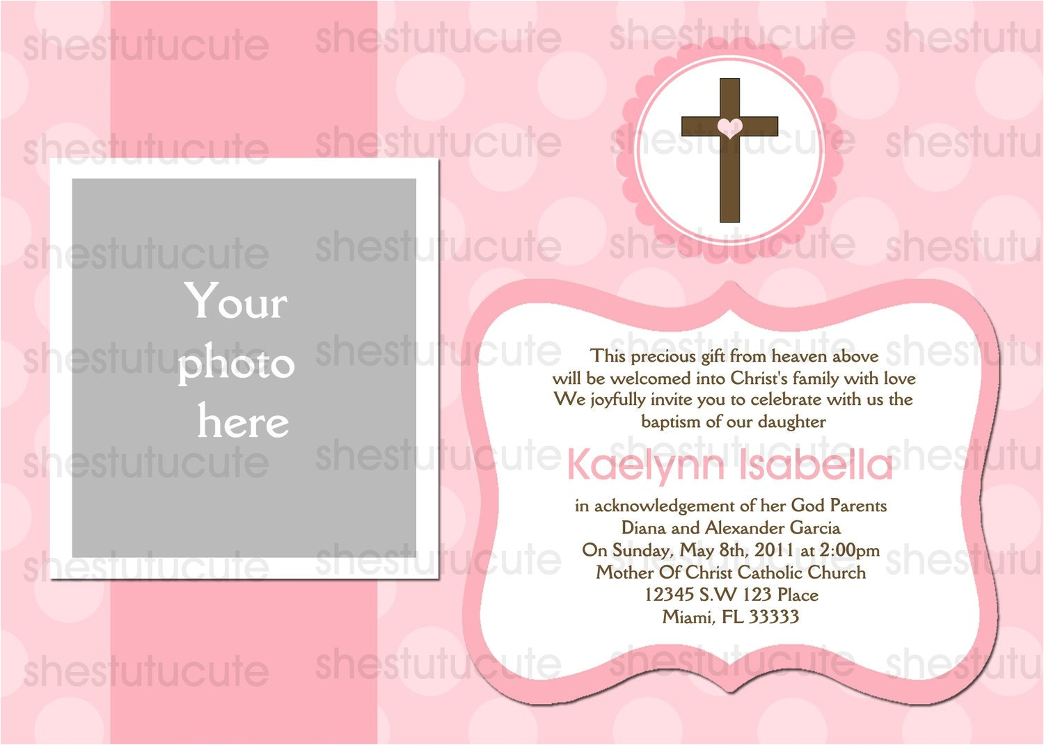 girls baptism invitations digital file