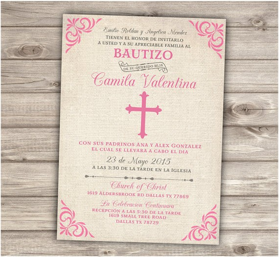 Girl Baptism Invitations In Spanish Spanish Printable Baptism Christening Invitations Burlap