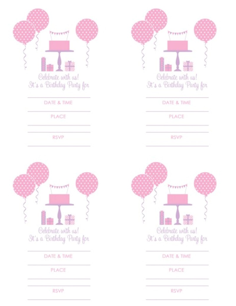 girls birthday invitation free printable