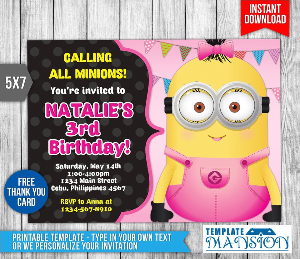 girl minion invitation birthday invitation psd 608350788